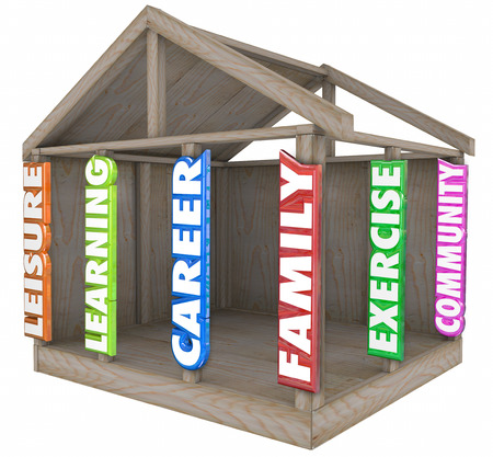 volunteerism: Family, career, learning, leisure, exercise, and community words in 3d letters on wood beams in a home to illustrate strong foundation and balancing time spent in important areas