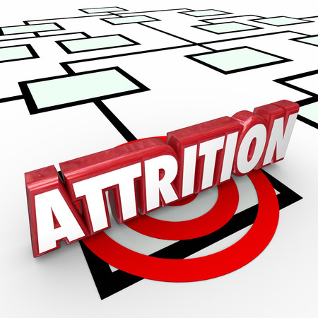 attrition: Attrition word on an organization chart with red 3d letters to illustrate firing or laying off worker or staff to reduce operating costs for a company or business Stock Photo