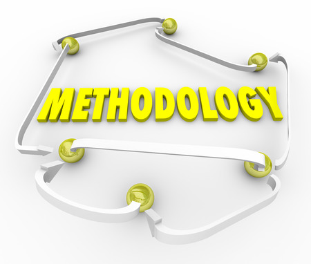 methodology: Methodology word in yellow 3d letters surrounded by arrows connecting balls in a diagram, instructions or organized set of processes and procedures to follow in a job, task or project Stock Photo