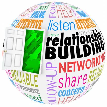 Palabras Relación de construcción en una bola o esfera para ilustrar la creación de redes y conocer gente nueva en el trabajo, carrera, la vida o las organizaciones Foto de archivo