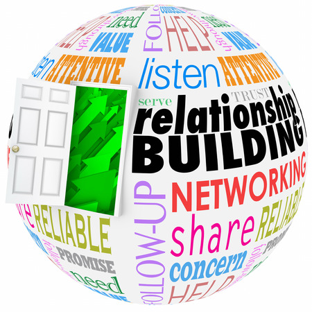 Relationship Building words on a ball or sphere to illustrate networking and meeting new people in job, career, life or organizations Archivio Fotografico