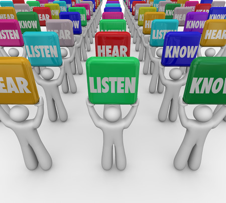 comprehend: Listen Hear Know words on tiles or signs held up by people or students to illustrate the steps or principles of paying attention and gaining knowledge in education
