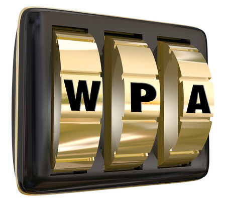 abbreviated: WPA letters on gold lock dials to illustrate network internet access via a protected public system for online usage
