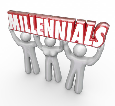 millennial: Millennials word in red 3d letters lifted by three young people to illustrate youth marketing and advertising to reach a younger generation Stock Photo