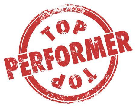 reconocimiento: Palabras de mejor desempe�o en un sello de estilo grunge rojo para ilustrar mejor resultado de un trabajador, empleado, atleta que da un rendimiento para un gran resultado Foto de archivo