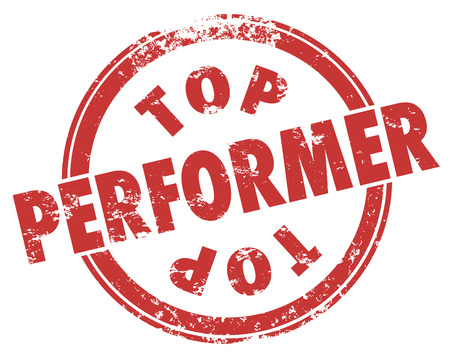recognizing: Top Performer words in a red grungy style stamp to illustrate best results from a worker, employee, athlete giving a performance for a great outcome
