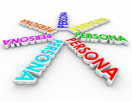 Persona words in spiral pattern to illustrate different and unique profiles of a diverse range of customers, clients and prospects