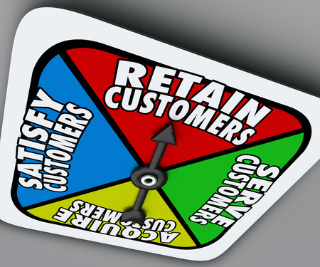retained: Retain, Serve, Satisfy and Acquire Customers words on a board game spinner to illustrate the steps of customer support and service for a successful business