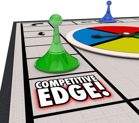 adversaries: Competitive Edge words on a board game to illustrate a special advantage of one player winning a competition Stock Photo
