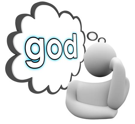persona pensando: Dios palabra en nube de pensamiento sobre una persona a pensar en la fe, la religi�n, la oraci�n y la fe Foto de archivo