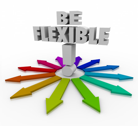 be the change: Be Flexible 3d words on arrows pointing in different directions to illustrate the need to be adaptive, responsive and open to change to succeed in altered conditions in business or life Stock Photo