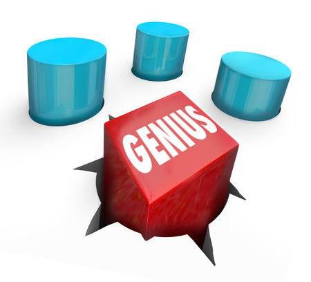 Genius word on a square peg in round hole to illustrate an exceptional, smart or intelligent person standing out from the crowd with high iq, unique skills or abilities photo