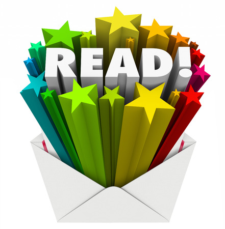 outreach: Read word in 3d letters and stars in an open envelope to share a message in advertising, marketing, communication or outreach Stock Photo