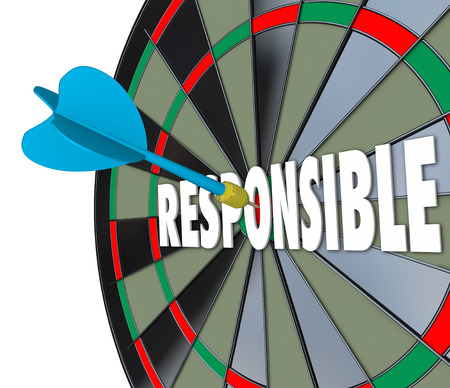 contracted: Responsible word on a dart board to illustrate the need to be accountable, trustworthy and reliable in meeting obligations in job, career and life