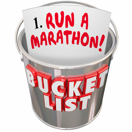 Run a Marathon words on a checklist in a metal pail and words Bucket List to illustrate a goal, mission or objective to achieve before you die Stock Photo