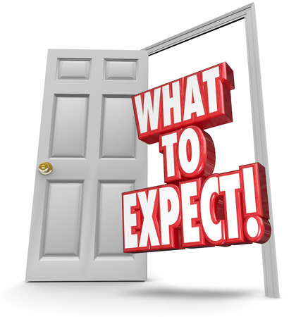 What to Expect red 3d words in an open door as a warning of dangers and risks if you dont take steps for safety, security and privacy Stock Photo