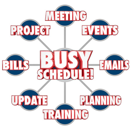 Busy Schedule at the center of a grid showing tasks, jobs or projects including answering emails, paying bills, projects, updates, meetings and more
