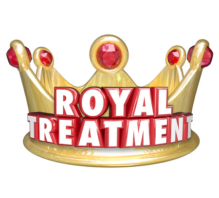 deference: Royal Treatment words in red 3d letters on a gold crown to illustrate VIP special service for best or top customers of a business