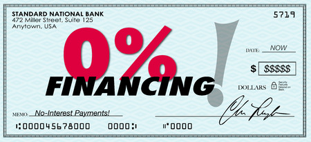 0% nul procent financiering woorden op een papieren cheque te illustreren of adverteren lage of geen rente lening en betaling op een lening of hypotheek Stockfoto - 38579870