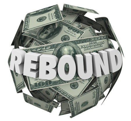 bouncing: Rebound word in 3d letters on a ball or sphere of cash, money or currency to illustrate an increase or improvement in income, earnings or investments