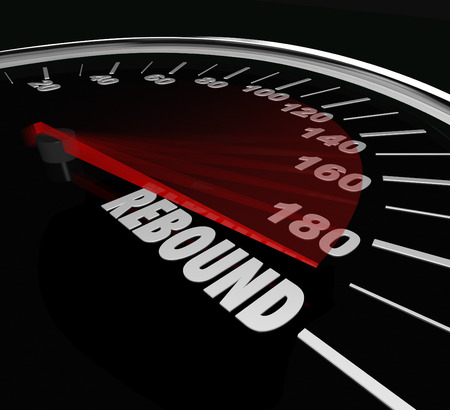 rebounding: Rebound word on a speedometer to illustrate a triumphant return or victory after a difficult challenge, defeat or difficulty Stock Photo