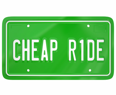 better price: Cheap Ride words on a green license plate to illustrate the cheapest, lowest cost or price car, truck, vehicle or automobile to buy