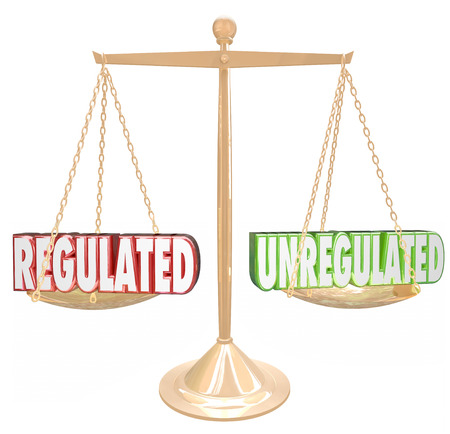 accordance: Regulated vs Unregulated 3d words on a scale to illustrate following rules or guidelines to be in compliance with laws, standards or accepted practices