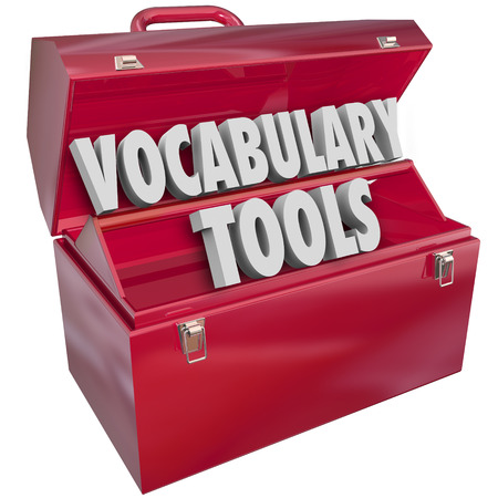 vocabulary: Vocabulary Tools 3d words in a red metal toolbox to illustrate education and learning new language words and terms