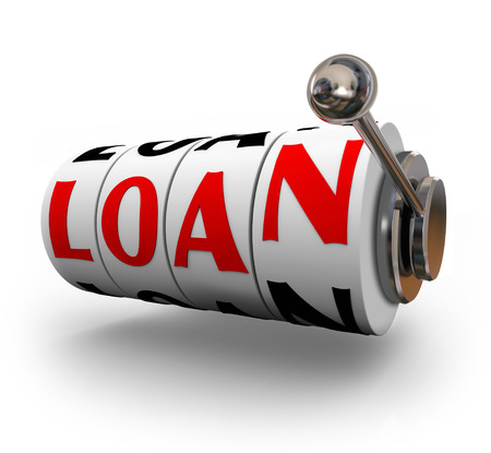 borrow: Loan word on slot machine wheels or dials to illustrate applying to borrow money in financing for a purchase of a house or home mortgage or car