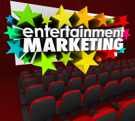 out of engagement: Entertainment Marketing in 3d words and stars shooting out of a movie or cinema theatre screen to illustrate brand engagement and advertising with an audience or customers Stock Photo