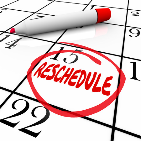 Reschedule word written and circled on a calendar day or date to illustrate an appointment or meeting that must be delayed, cancelled, moved or changed