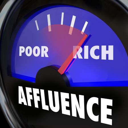 affluence: Affluence word on a gauge measuring the growing gap and disparity in income between rich and poor people