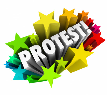 outcry: Protest word in white 3d letters to deomonstrate, object or show anger with a challenge, problem or bad action of an authority