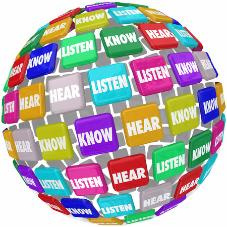 Listen, Hear and Know words on tiles in a globe or world 3d shape to illustrate the need to pay atention to absorb and learn information in education and training Stock Photo