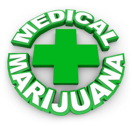 hoja marihuana: Marihuana Medicinal en palabras verdes alrededor de un signo más para ilustrar o publicitar olla legal para la venta con receta médica para el tratamiento de enfermedades, dolencias o condiciones Foto de archivo