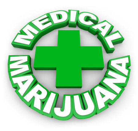 marijuana leaf: Medical Marijuana in green words around a plus sign to illustrate or advertise legal pot for sale by prescription to treat illness, disease or conditions