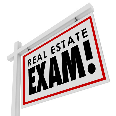 Real Estate Exam words on a home for sale sign to illustrate test an agent must study for, take and pass to become licensed in selling houses