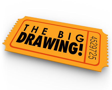 raffle: The Big Drawing words on an orange raffle or contest ticket for picking the lucky winner in a fundraiser or charity money event