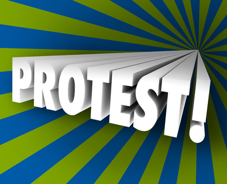 outcry: Protest word in 3d letters shooting out of a colorful funnel to illustrate speaking out against injustice or taking part in an objection, demonstration or rally Stock Photo