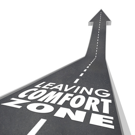 easy going: Leaving Comfort Zone words on a 3d road leading you to experience new things, to grow and improve in job, career or life