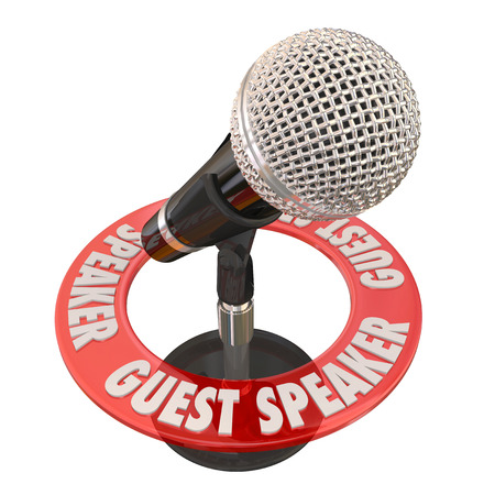 panelist: Guest Speaker words in a ring around a microphone to illustrate someone invited to give a speech to a group, panel, audience or committee