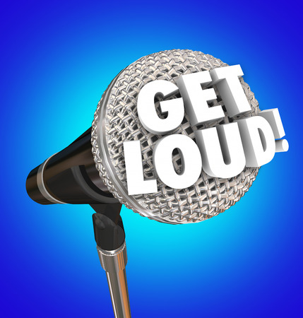 Get Loud words on a microphone to encourage you to speak out and share your opinions and viewpoints to be heard with high or increased volume Stock Photo