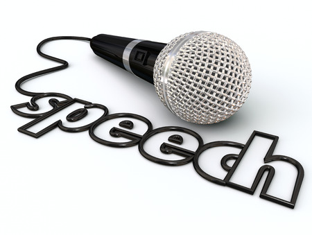 public speaking: Speech word in a microphone cord to illustrate public speaking or giving a presentation to an audience or crowd of people Stock Photo
