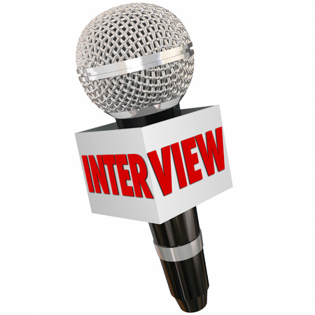televised: Interview word on a reporters microphone to illustrate asking questions and getting answers and information from a person or subject Stock Photo