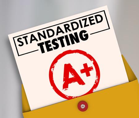 Palabras Pruebas estandarizadas en una tarjeta de informe clasifican o marcarse A Plus para ilustrar los resultados de manadated, currículo común, consistente en la escuela y la educación Foto de archivo - 38738564