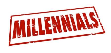 demographic: Millennials parola timbrato grunge stile in inchiostro rosso classificare, gruppo o dividere una categoria di et� dei giovani per la commercializzazione o studio demografico o di ricerca Archivio Fotografico