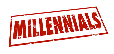 category: Millennials word stamped grunge style in red ink to classify, group or divide an age category of youth for marketing or demographic study or research