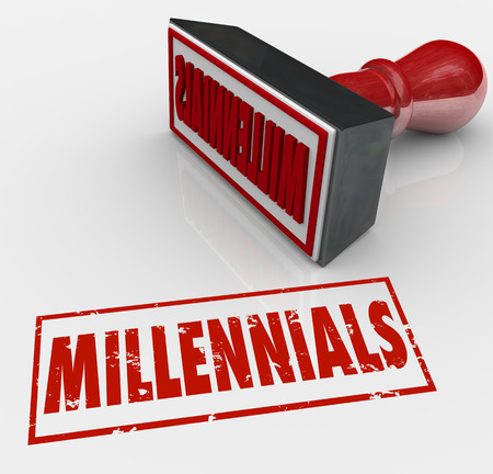 demos: Millennials word stamped in red ink and grunge style to label a group of young people for marketing or demographic purposes