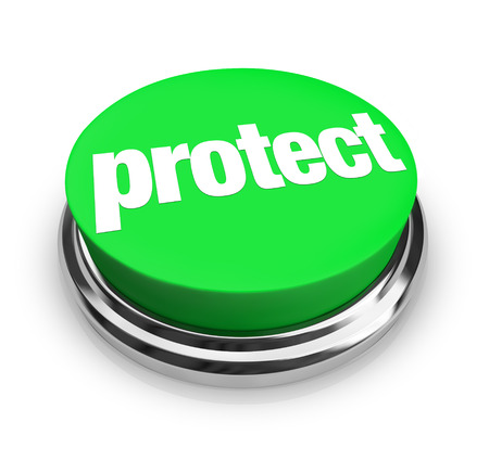 taking a risk: Protect word on a round green button to illustrate safeguarding your home, work, job or property from harm, threat, insecurity or danger Stock Photo