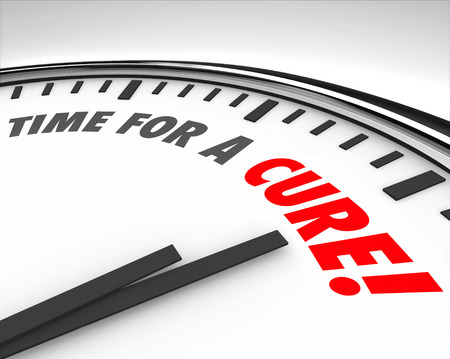 finding the cure: Time for a Cure words on a clock face to illustrate fundraising or research to find a medical solution and end disease, sickness, illness and other health conditions